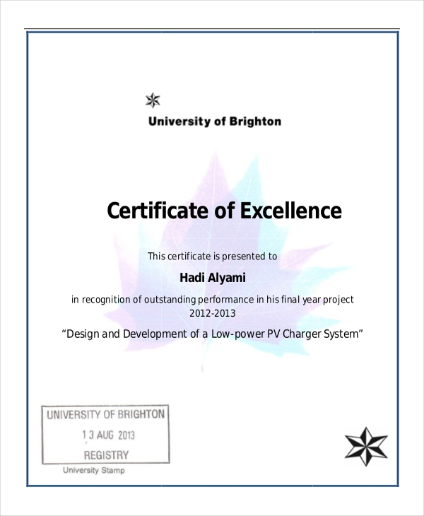 Certificate Of Excellence Template Word 5
