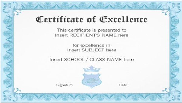 Certificate Of Excellence Template Word 8