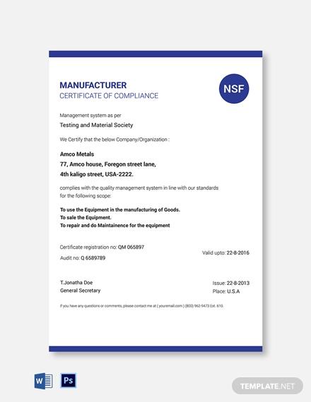 Certificate Of Manufacture Template 10