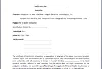 Certificate Of Manufacture Template