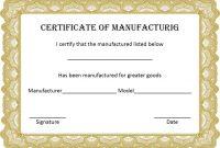 Certificate Of Manufacture Template 4
