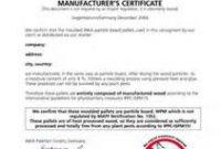 Certificate Of Manufacture Template 8