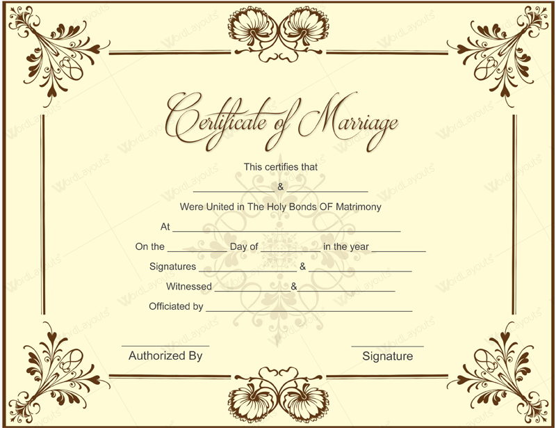 Certificate Of Marriage Template 6