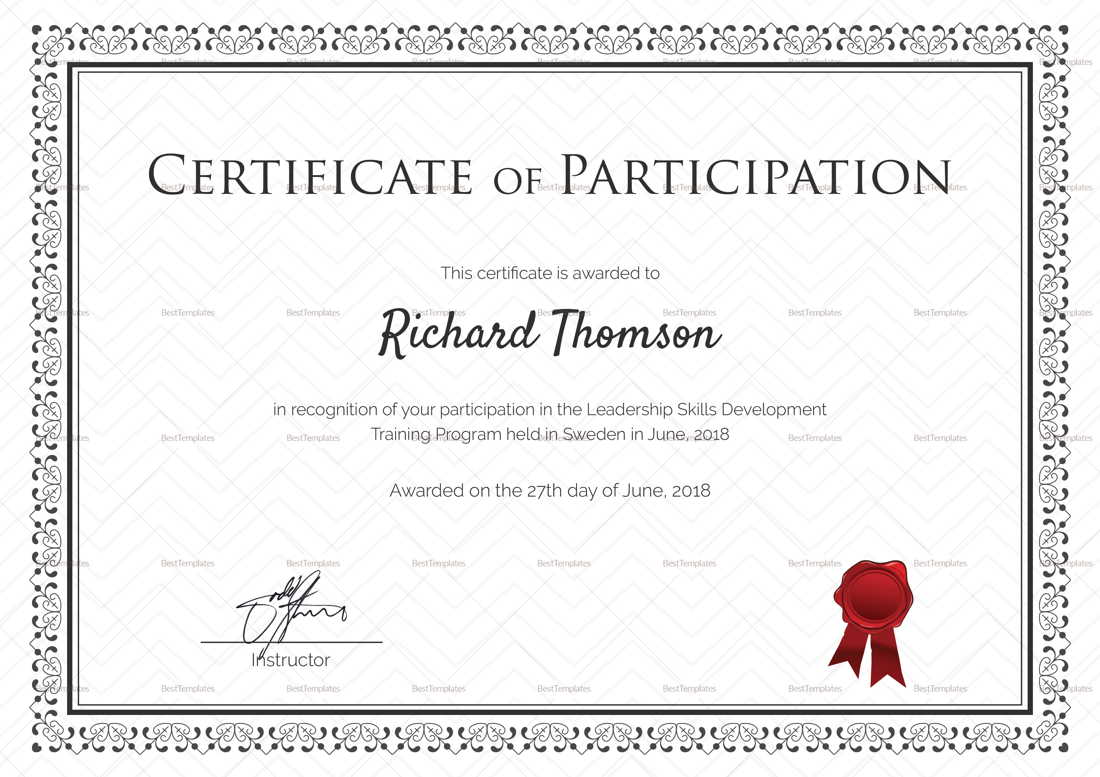 Certificate Of Participation In Workshop Template 8