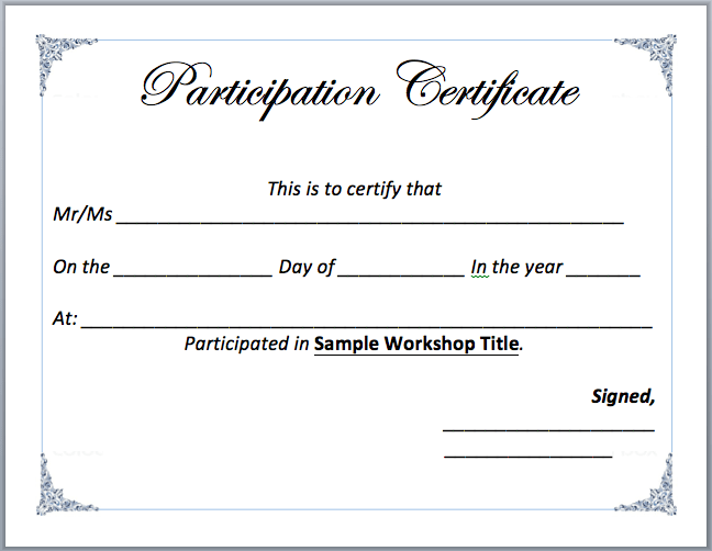 Certificate Of Participation Template Word 2