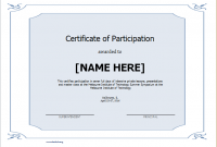 Certificate Of Participation Template Word 5