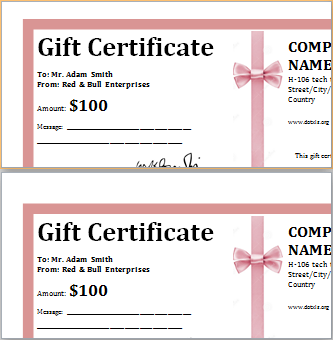 Company Gift Certificate Template 4