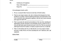 Construction Certificate Of Completion Template 2