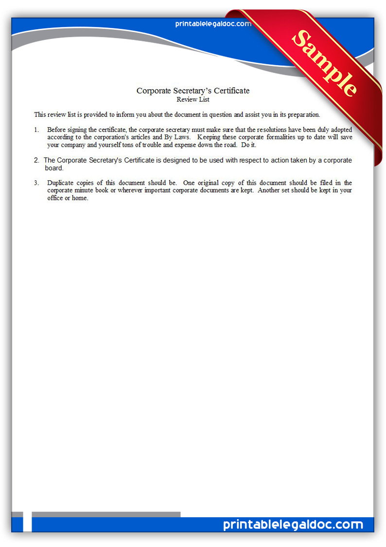 Corporate Secretary Certificate Template 2