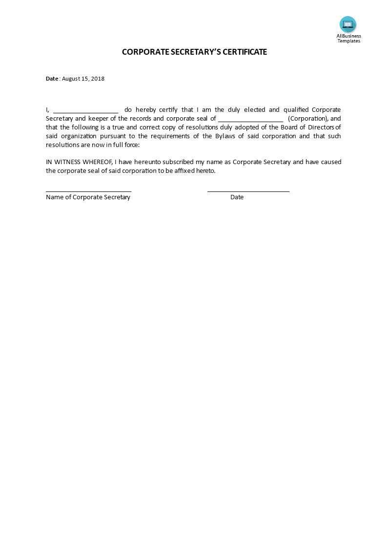 Corporate Secretary Certificate Template 4