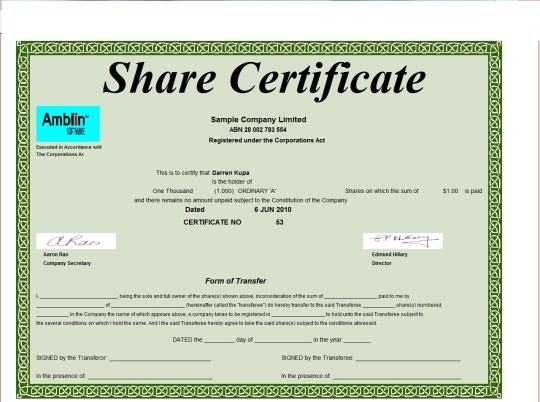 Corporate Share Certificate Template 3