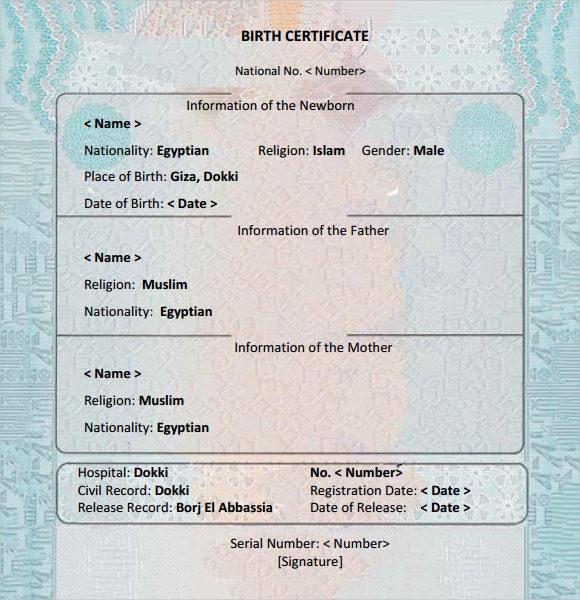 Editable Birth Certificate Template