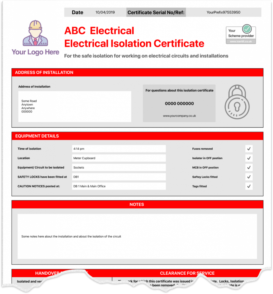 Electrical Isolation Certificate Template 2