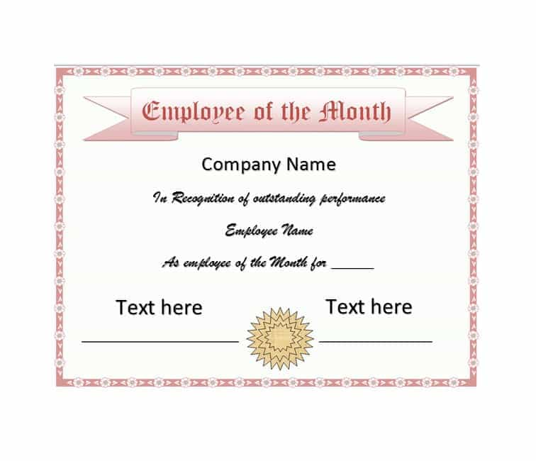 Employee Of The Month Certificate Templates 2