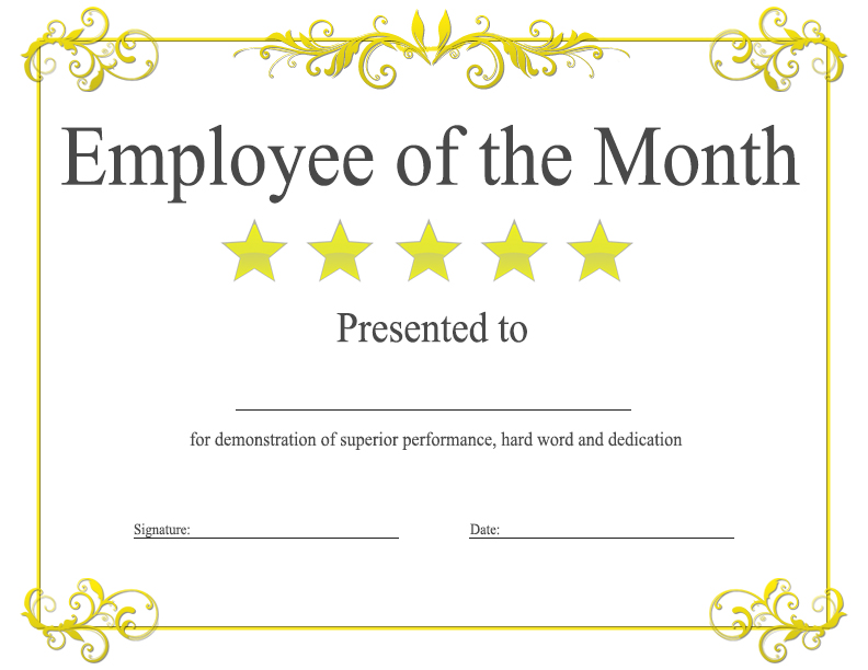Employee Of The Month Certificate Templates 3