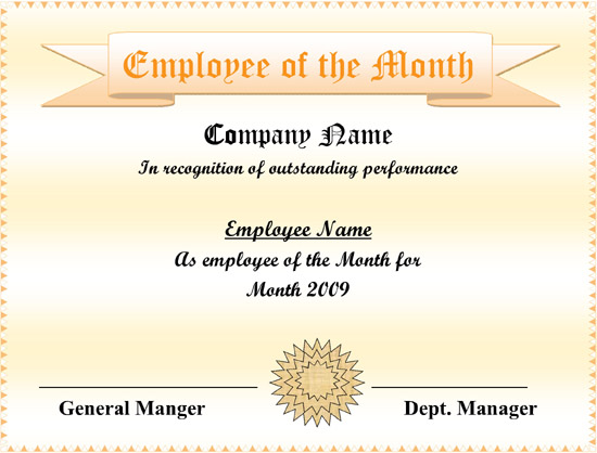 Employee Of The Month Certificate Templates 6