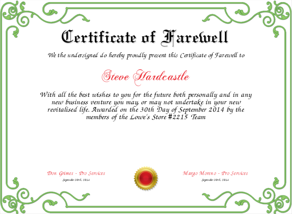Farewell Certificate Template 4