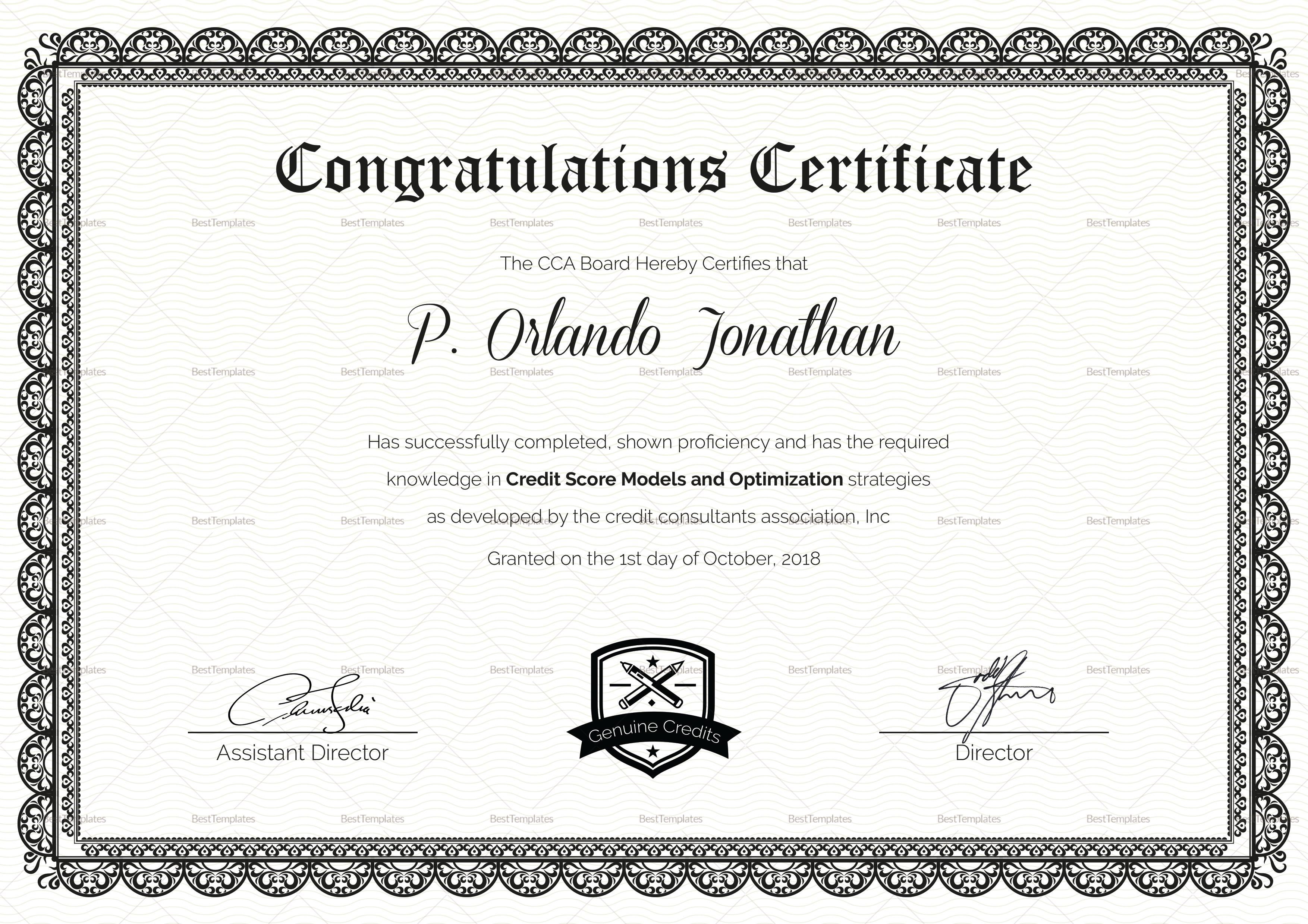 Felicitation Certificate Template 10