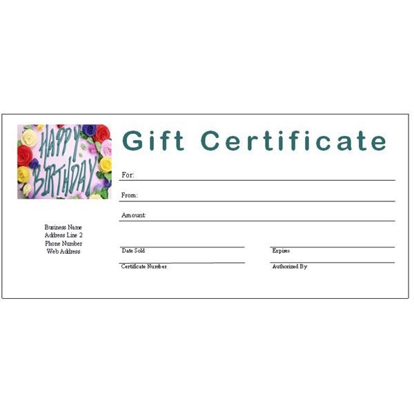 Fillable Gift Certificate Template Free 5