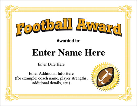 Football Certificate Template 11