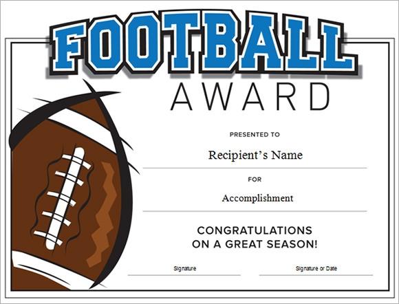 Football Certificate Template