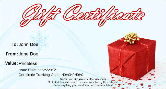 Free Christmas Gift Certificate Templates 4