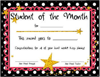 Free Printable Student Of The Month Certificate Templates 11