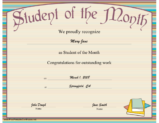 Free Printable Student Of The Month Certificate Templates 12