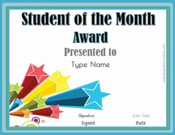 Free Printable Student Of The Month Certificate Templates 3