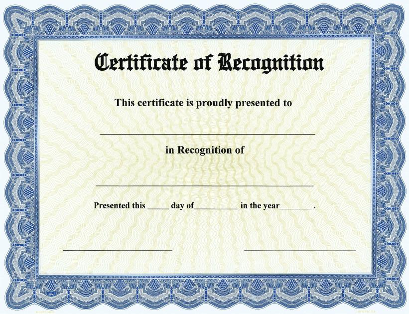 Free Template For Certificate Of Recognition 11