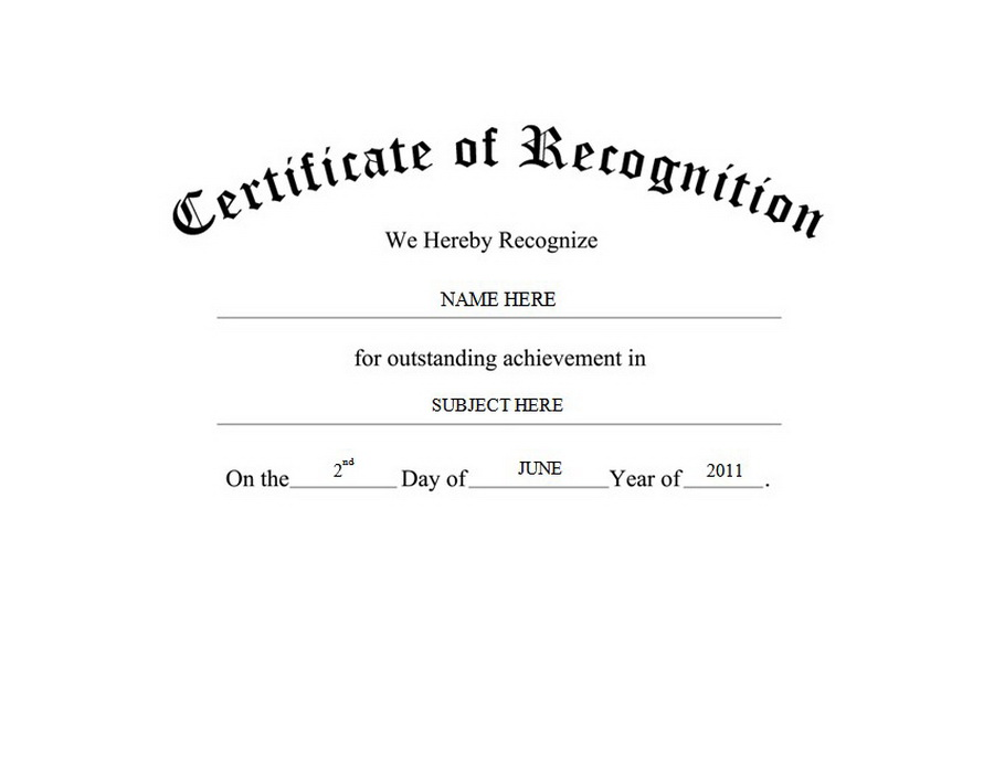 Free Template For Certificate Of Recognition 4