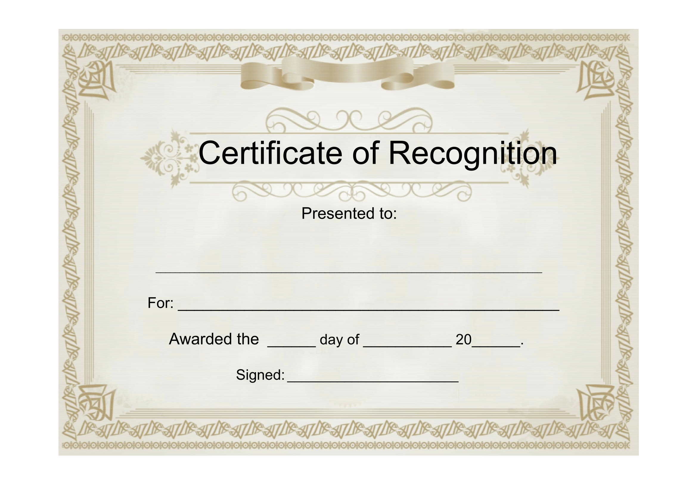 Free Template For Certificate Of Recognition 6