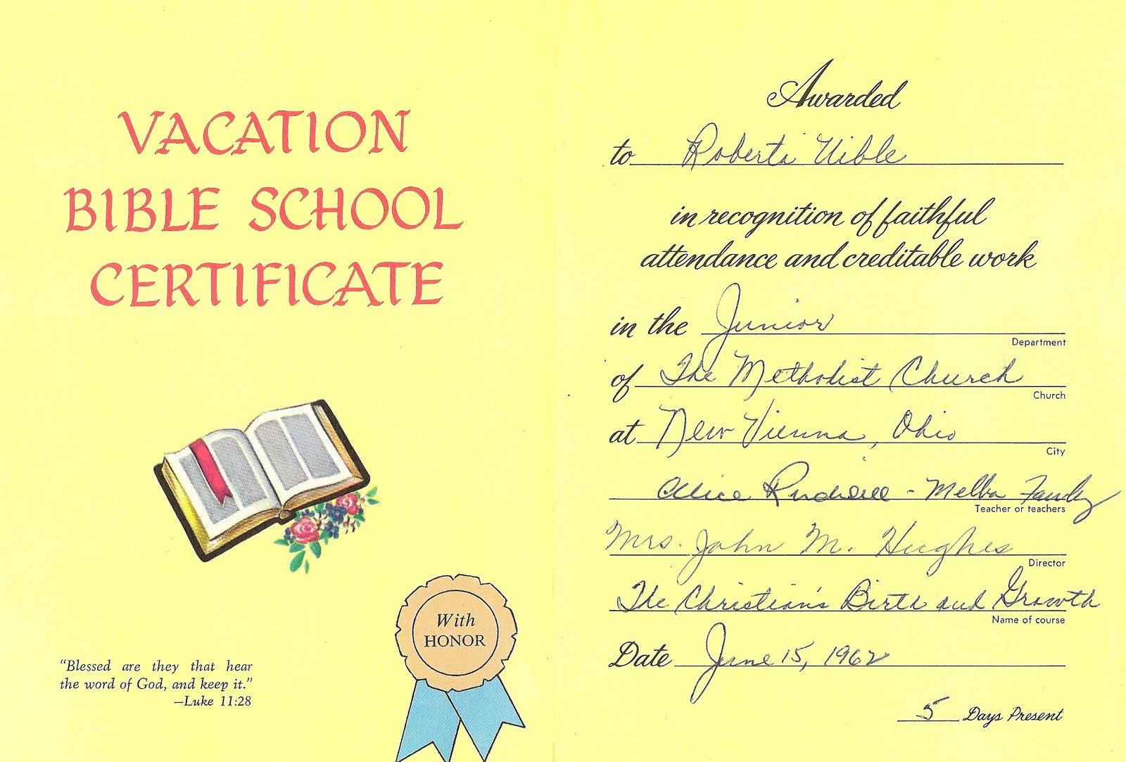 Roberta's Bible School Certificate - June 1962