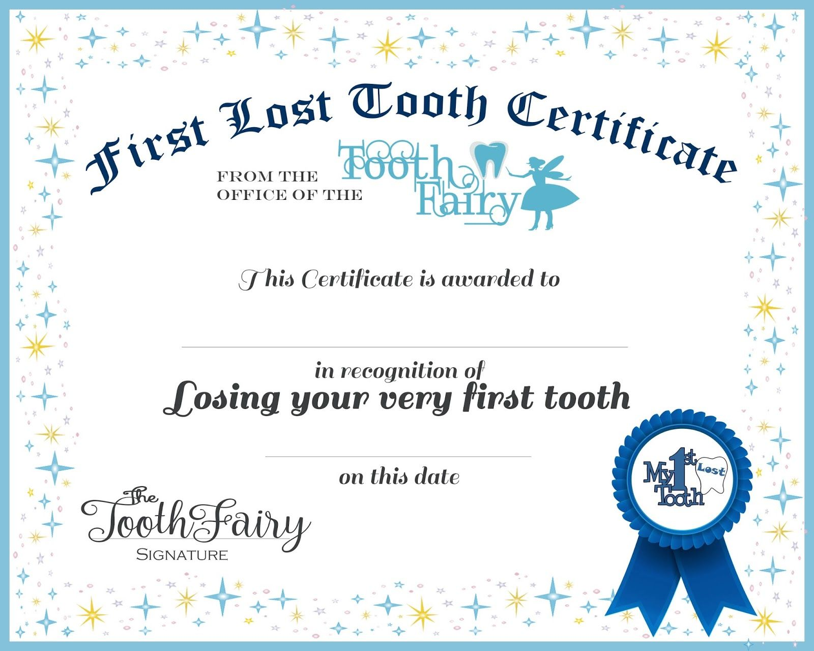 Free Tooth Fairy Certificate Template 0