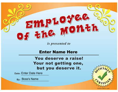 Funny Certificates For Employees Templates 11