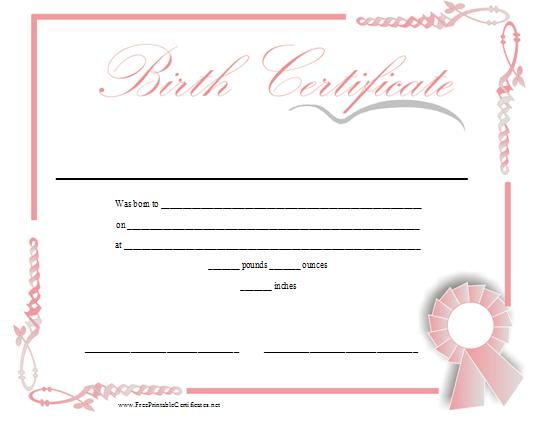 Girl Birth Certificate Template 5