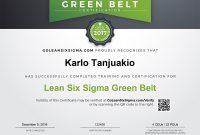 Green Belt Certificate Template 2