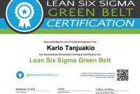 Green Belt Certificate Template 3