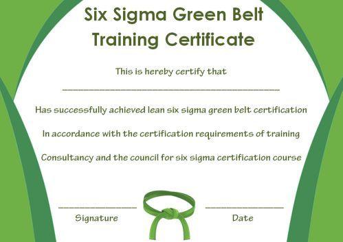 Green Belt Certificate Template