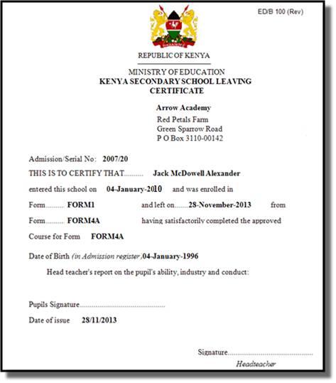 Leaving Certificate Template 7
