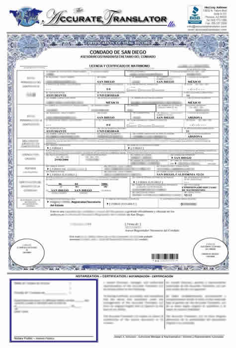 Marriage Certificate Translation From Spanish To English Template 4