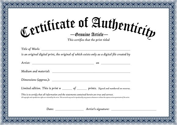 Photography Certificate Of Authenticity Template 6