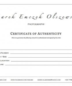 Photography Certificate Of Authenticity Template 9