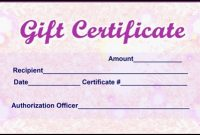 Pink Gift Certificate Template 4