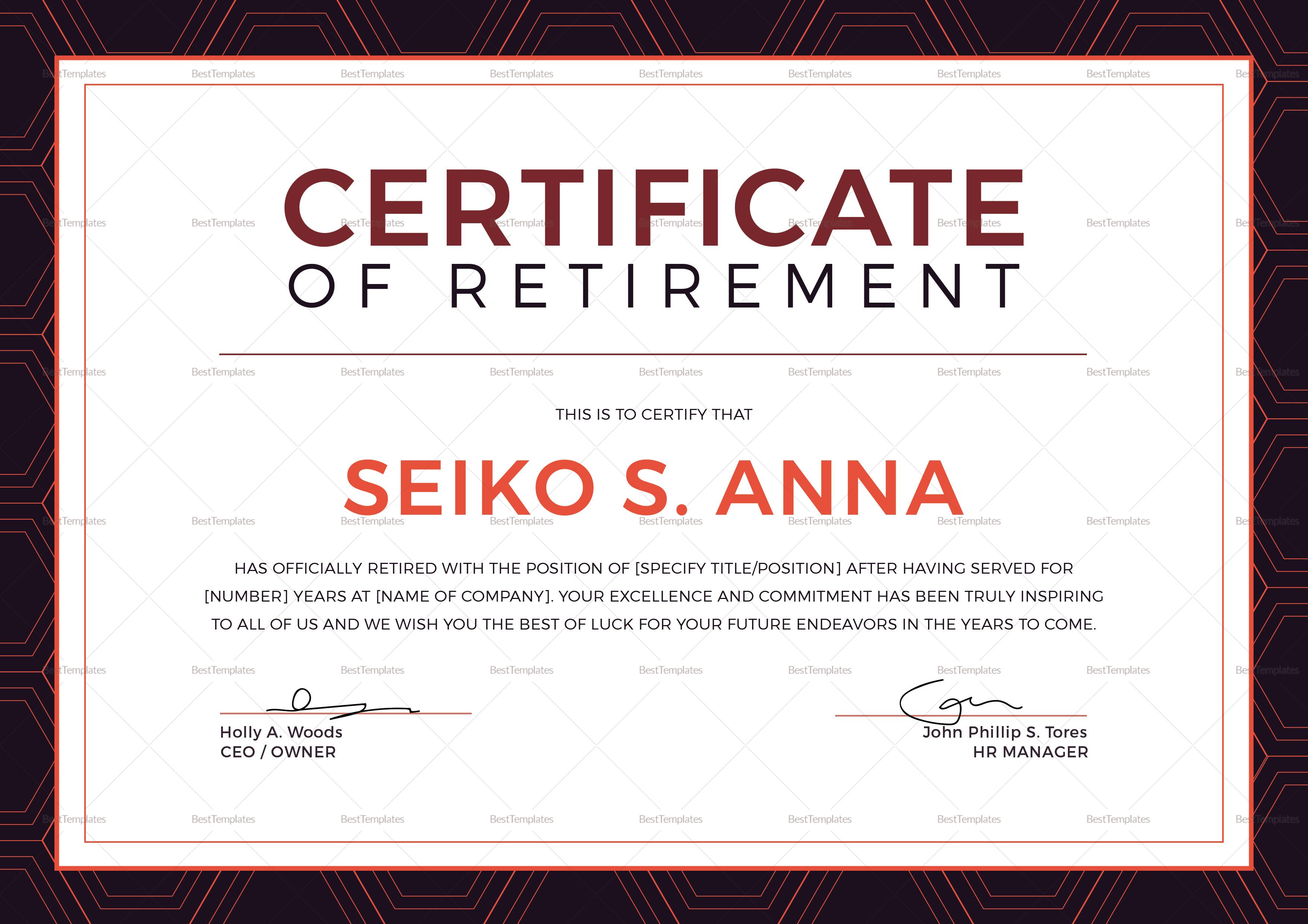 Retirement Certificate Template 10