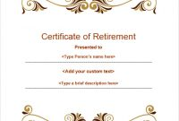 Retirement Certificate Template