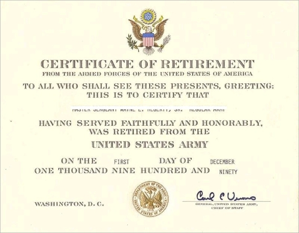 Retirement Certificate Template 3
