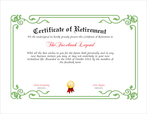Retirement Certificate Template 4