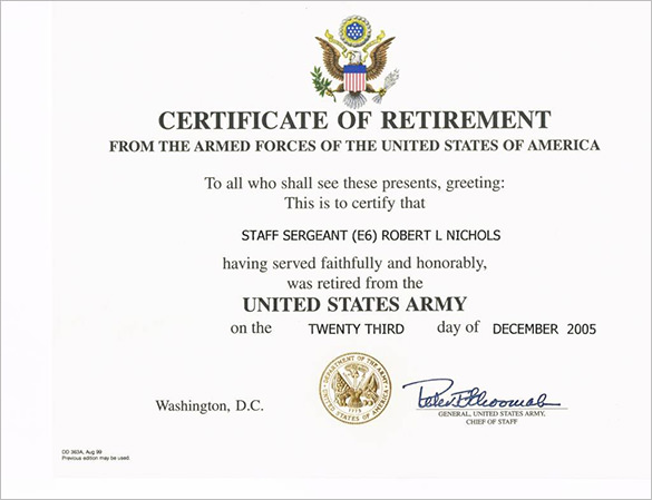 Retirement Certificate Template 7