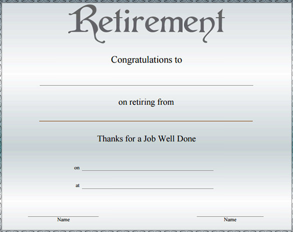 Retirement Certificate Template 9